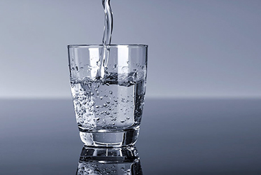 Glass of purified water